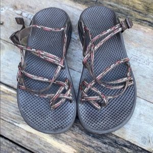 Chaco | Women's Brown Pink Open Back Sandal 6
